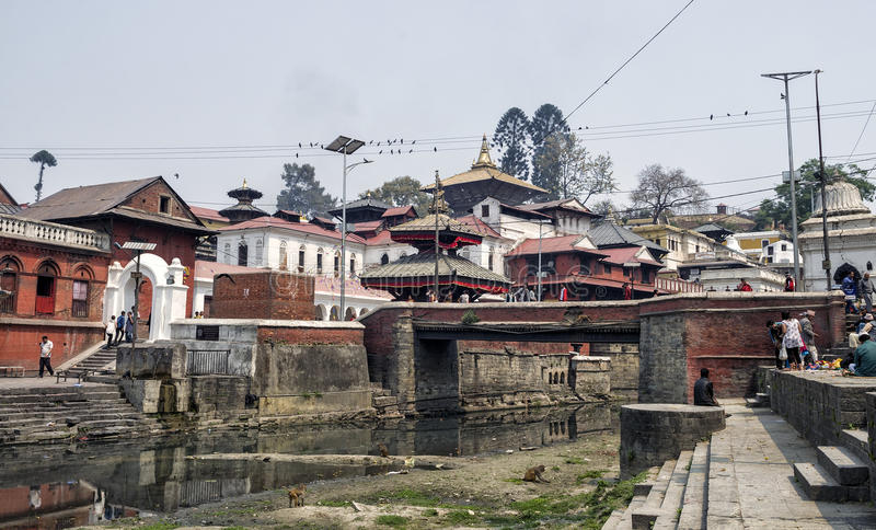Life and activites along the holy Bagmati River at Pashupatinath Temple, Kathmandu, Nepal. stock photos
