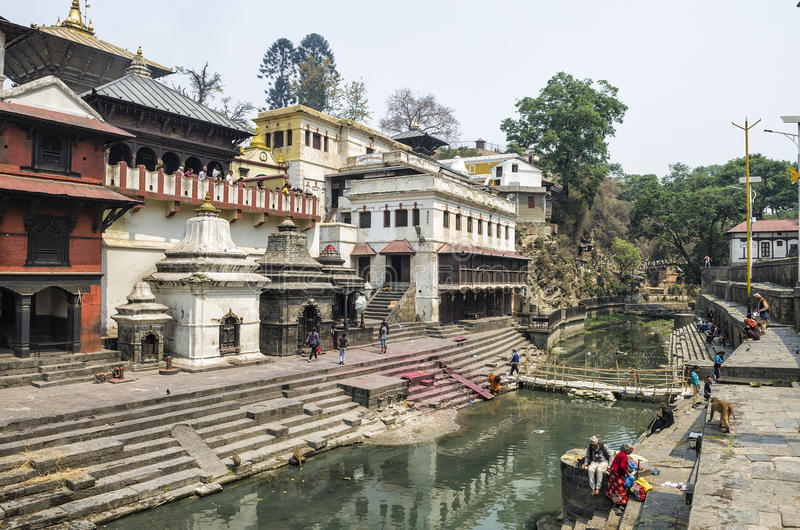 Life and activites along the holy Bagmati River at Pashupatinath Temple, Kathmandu, Nepal. royalty free stock images