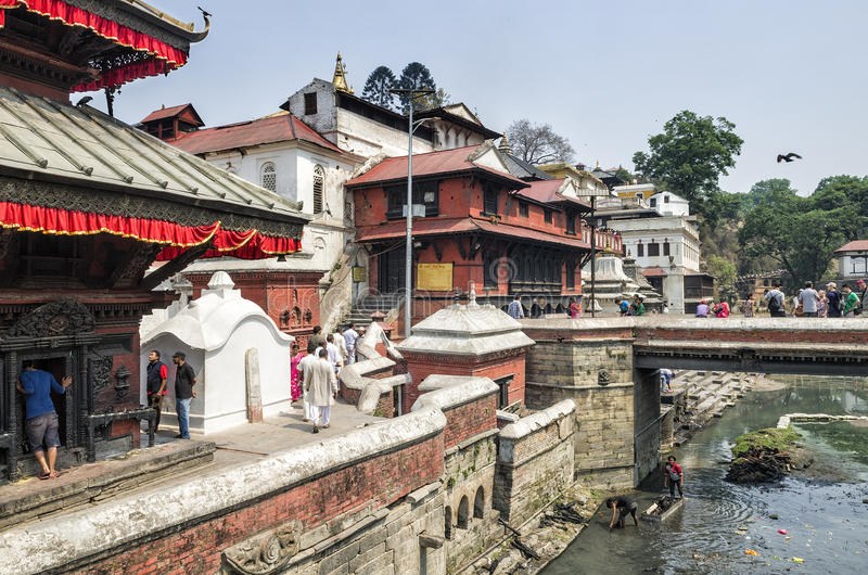 Life and activites along the holy Bagmati River at Pashupatinath Temple, Kathmandu, Nepal. royalty free stock photo