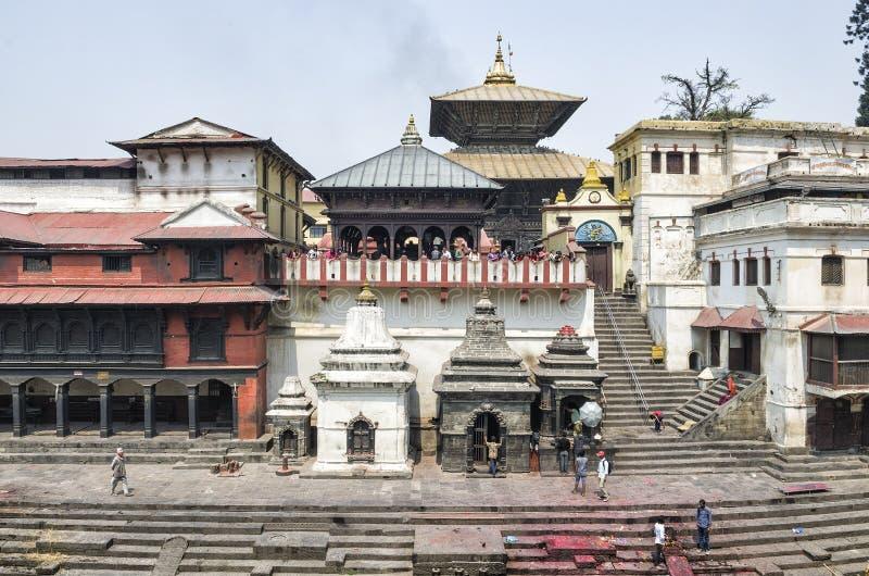 Life and activites along the holy Bagmati River at Pashupatinath Temple, Kathmandu, Nepal. Sri Pashupatinath Temple located on the banks of the Bagmati River stock photo