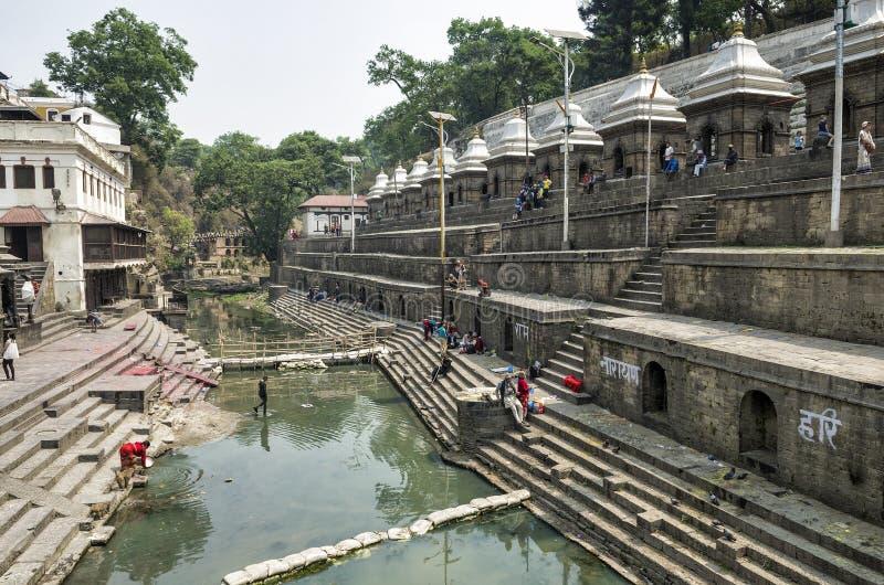 Life and activities along the holy Bagmati River at Pashupatinath Temple, Kathmandu, Nepal. stock photo
