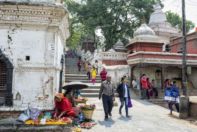 Life and activities along the holy Bagmati River at Pashupatinath Temple, Kathmandu, Nepal. Sri Pashupatinath Temple located on the banks of the Bagmati River stock photos