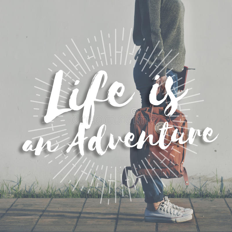 Life is an Adventure Journey Explore Trip Destination Traveling. Concept royalty free stock image