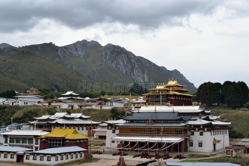 The life around Kirti Gompa Monastery in Langmusi, Amdo Tibet, C royalty free stock image
