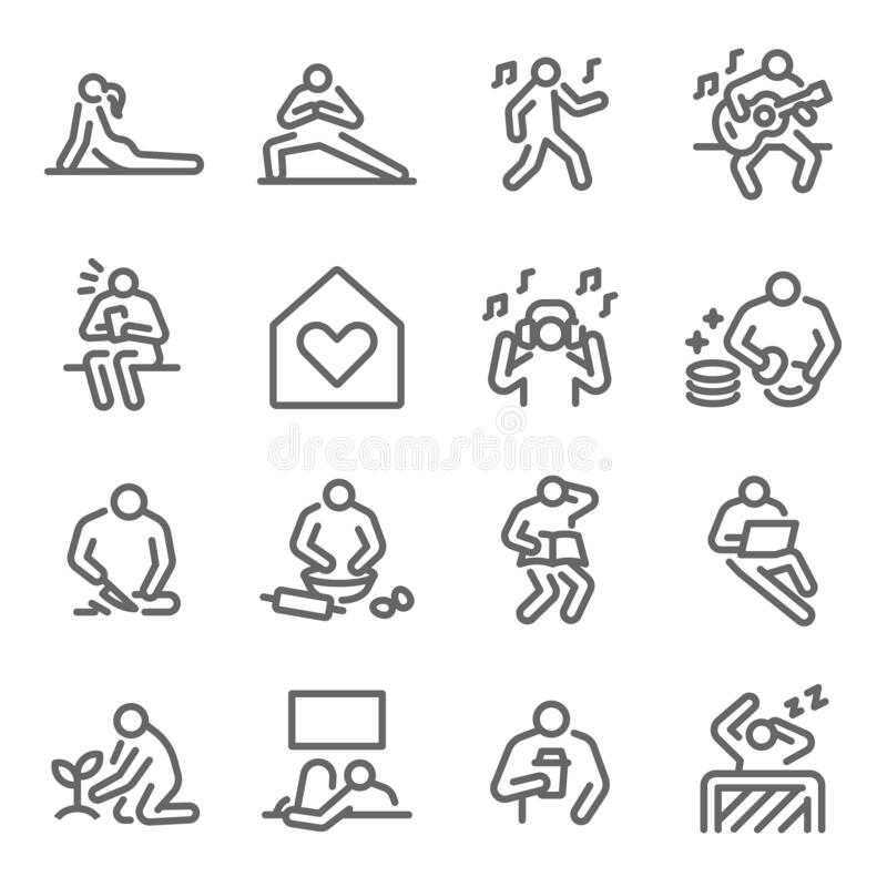 Free Life At Home Icon Set Vector Illustration. Contains Such Icon As Relax, Home Cooking, Sleeping, Working From Home, Plant, Yoga, An Royalty Free Stock Photos - 183322188