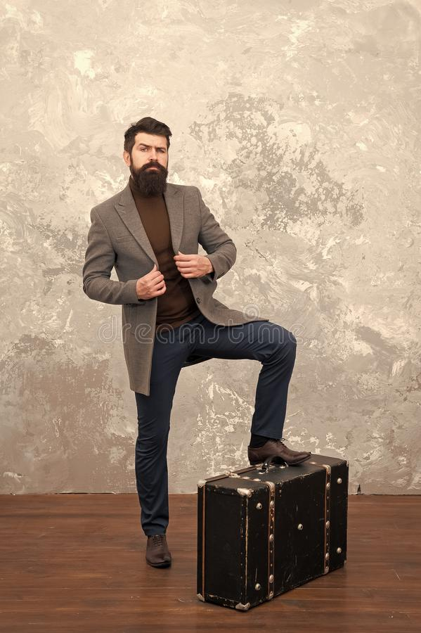 Life is awesome. bearded man with travel bag. bag shop. male fashion look. trip adventure. business trip. businessman royalty free stock image
