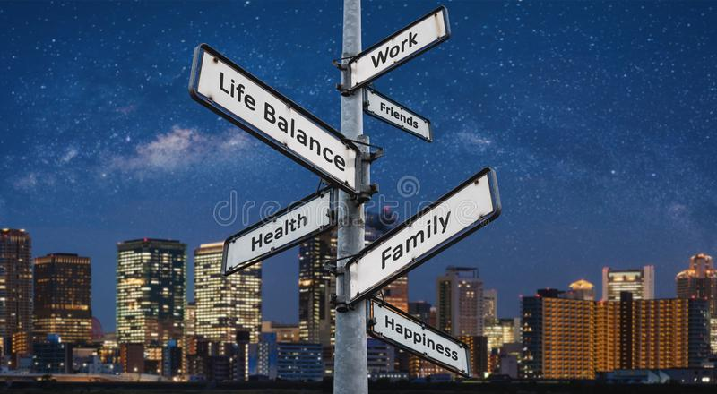 Life balance choices on signpost, with city at night backgrounds. Life balance choices on signpost, with city at night background stock photos