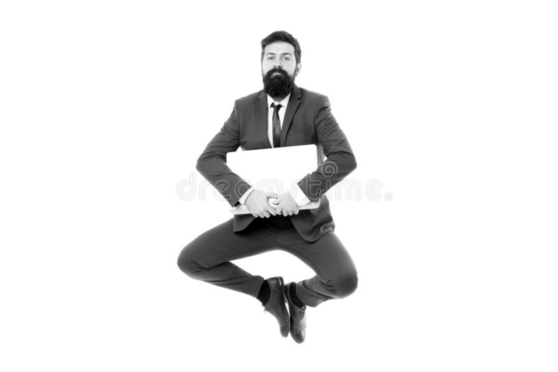 Life balance concept. Inspiring innovations. Businessman inspired guy feel peaceful. Man peaceful hold laptop jump stock photography