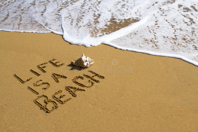 Life is a Beach - Message on Beach royalty free stock image