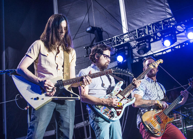 Life Is Beautiful Festival. LAS VEGAS - SEP 27 : Musicians Brian Bell, Rivers Cuomo and Scott Shriner of Weezer perform onstage AT the 2015 Life Is Beautiful stock photography