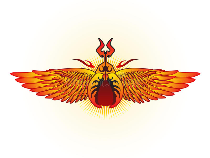 Life Beetle. Ancient life beetle with eagle wings stock illustration