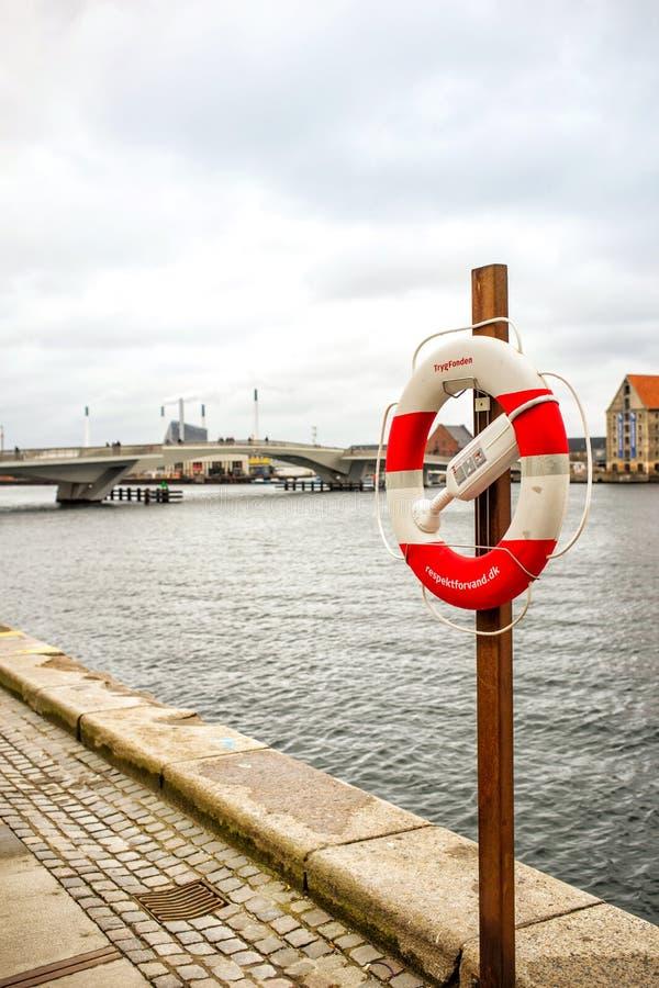 Life belt on Havnepromenade stock photo