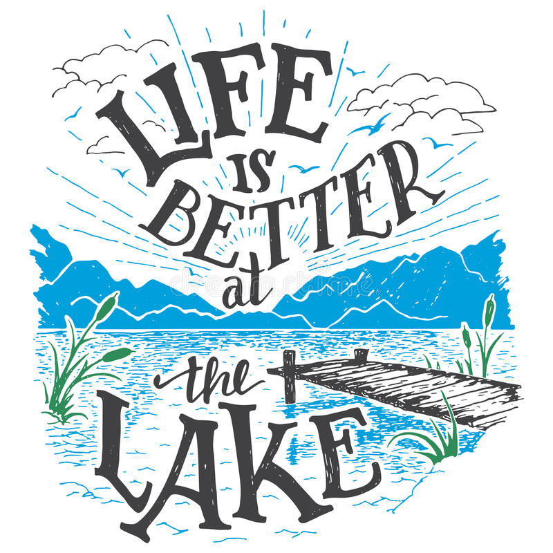 Life is better at the lake hand-lettering sign. Life is better at the lake. Lake house decor sign in vintage style. Lake sign for rustic wall decor. Lakeside