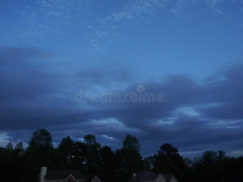 Life blue nights. Trees, sky stock images