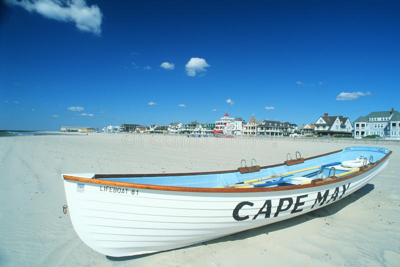 Life Boat on Cape May, NJ beach royalty free stock photos