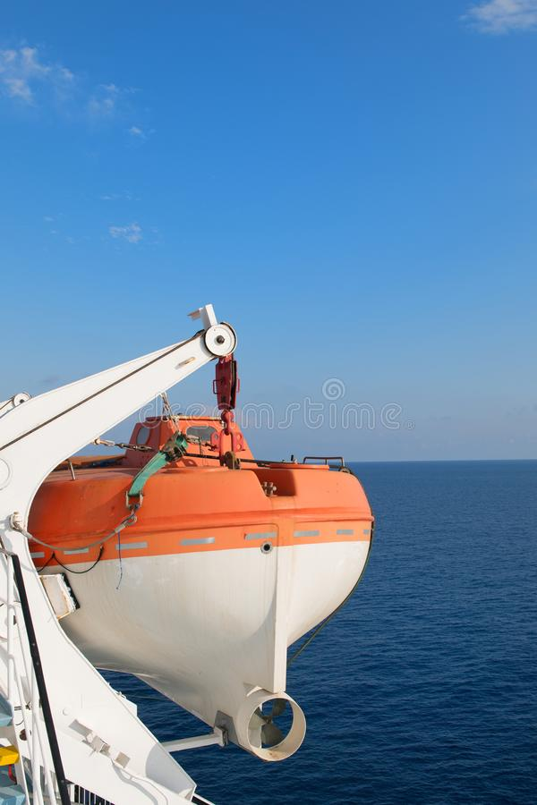 Life boats on big ship royalty free stock photos