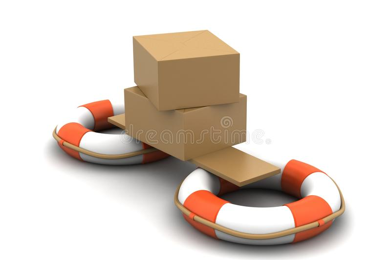 Life bouy with box vector illustration