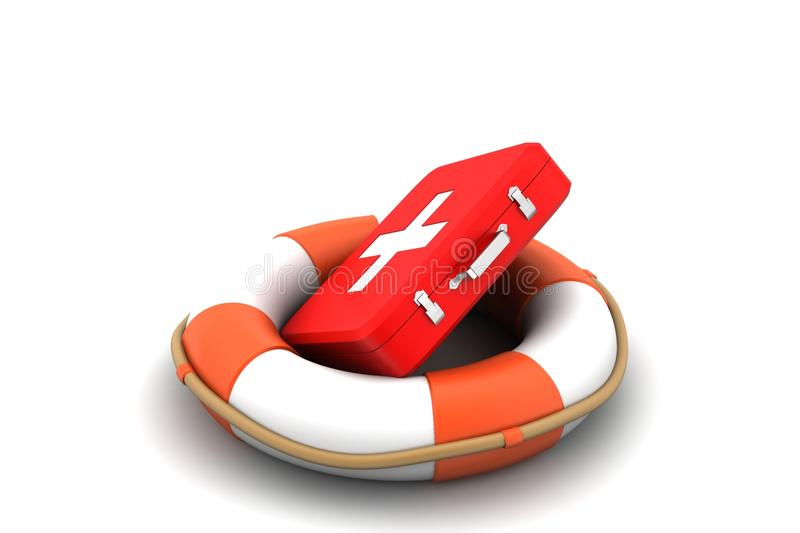 Life bouy with first aid box stock illustration