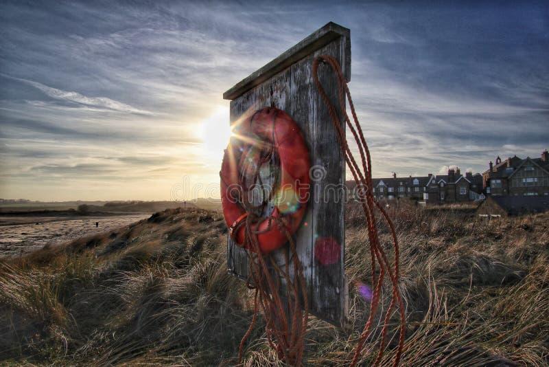 Life Buoy at Alnmouth royalty free stock photography