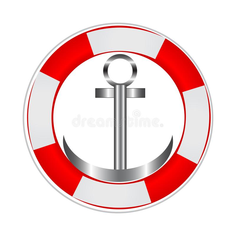 Life buoy with an anchor. stock illustration