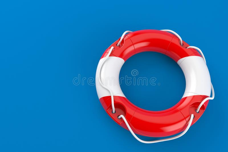 Life buoy with austrian flag. Isolated on blue background. 3d illustration royalty free illustration