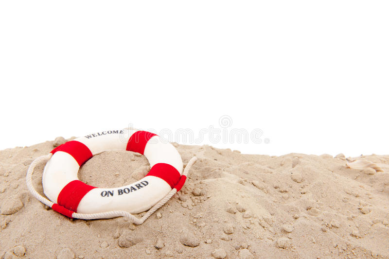 Life buoy at the beach. Life buoy wih welcome on board at the beach royalty free stock images