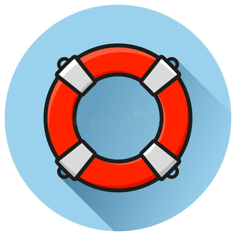Life buoy circle flat icon vector illustration