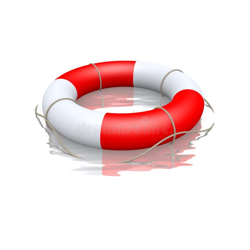 Life buoy floating in water royalty free stock photos