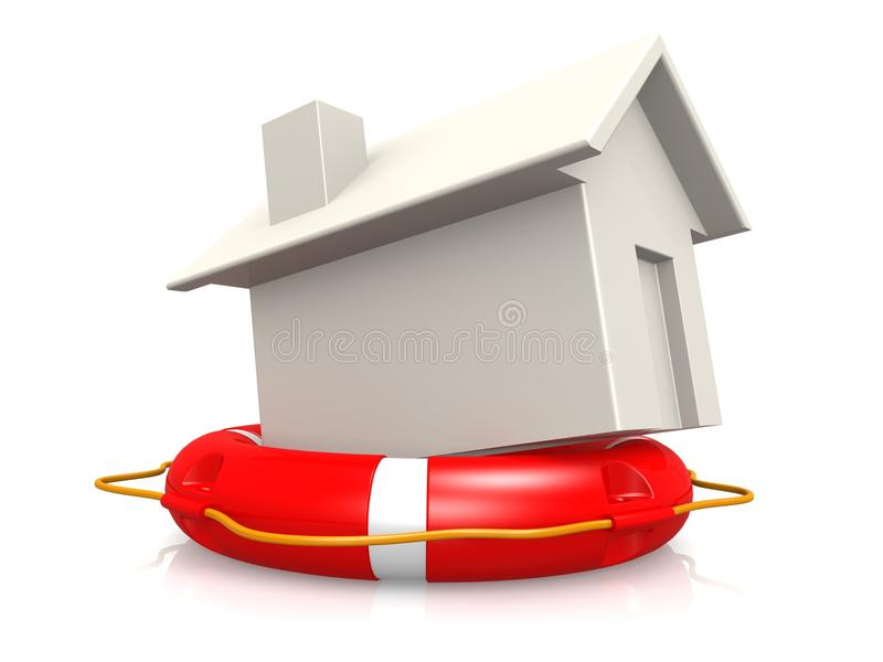 Download Life buoy with house stock illustration. Illustration of insurance - 34294932