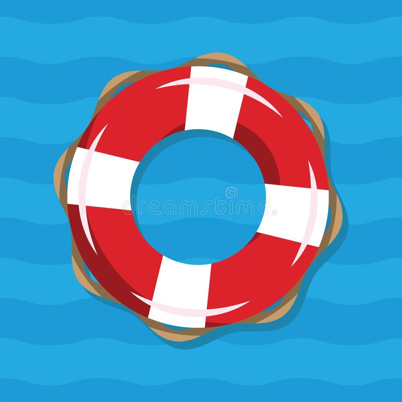 Life buoy illustration on blue sea background. Red and white lifebuoy with stripes for sos emergency, for safety in vector illustration