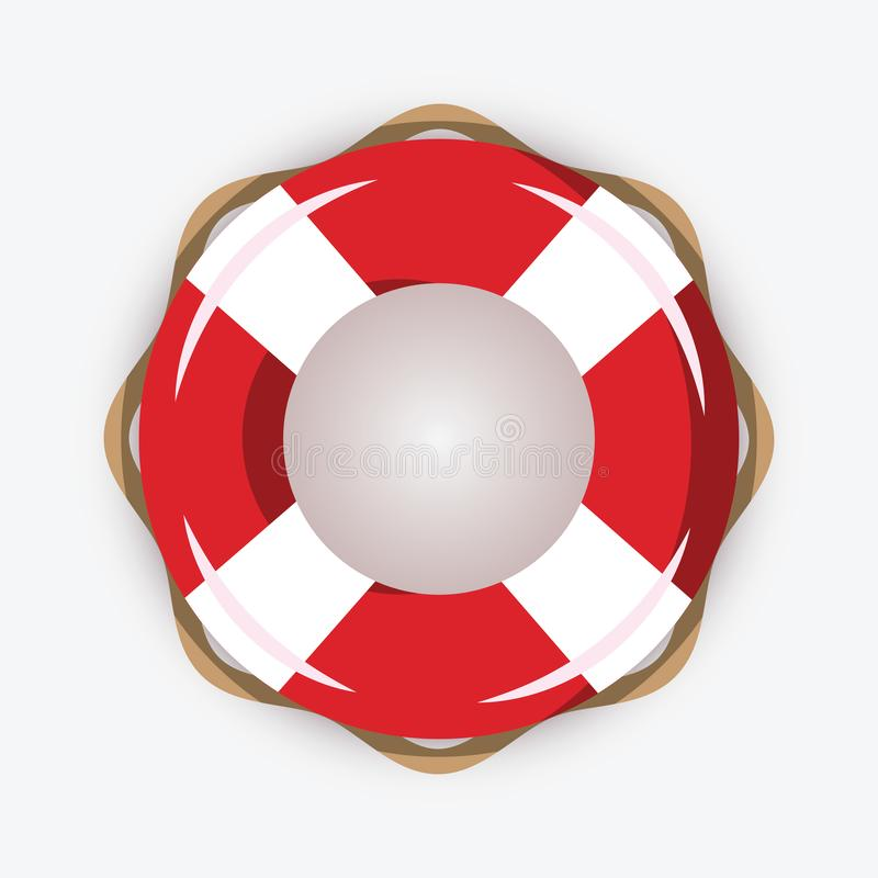 Life buoy isolated on white background. Red and white lifebuoy with stripes for sos emergency, for safety in water with stock illustration