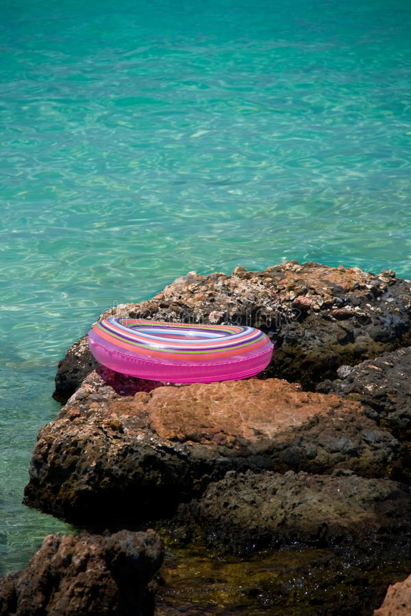 Download Life buoy near sea stock photo. Image of circle, beach - 32428644