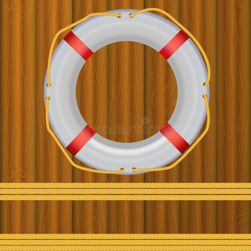 Free Life Buoy On Boards Background, Ropes Stock Photography - 25003612