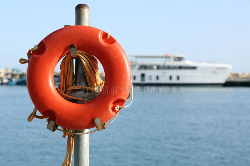Life buoy in the port stock photo