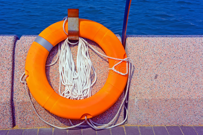 Download Life buoy stock photo. Image of lifeguard, orange, protection - 35250090