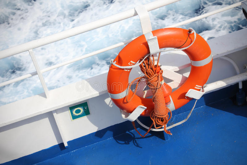 Life buoy on ship