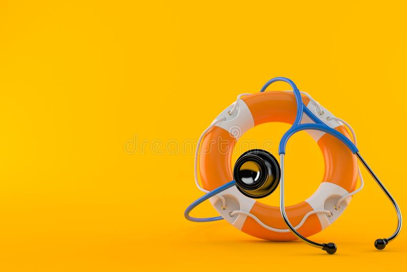 Life buoy with stethoscope. Isolated on orange background. 3d illustration royalty free illustration