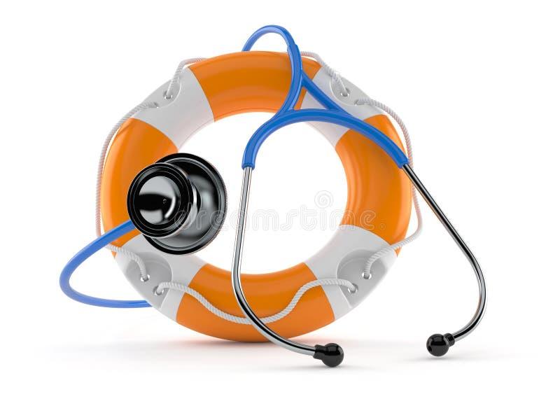 Life buoy with stethoscope. Isolated on white background. 3d illustration royalty free illustration