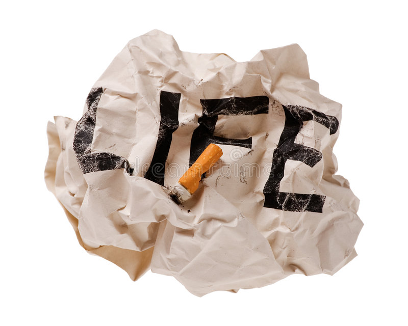 Life and Cigarettes. Concept image stock photo