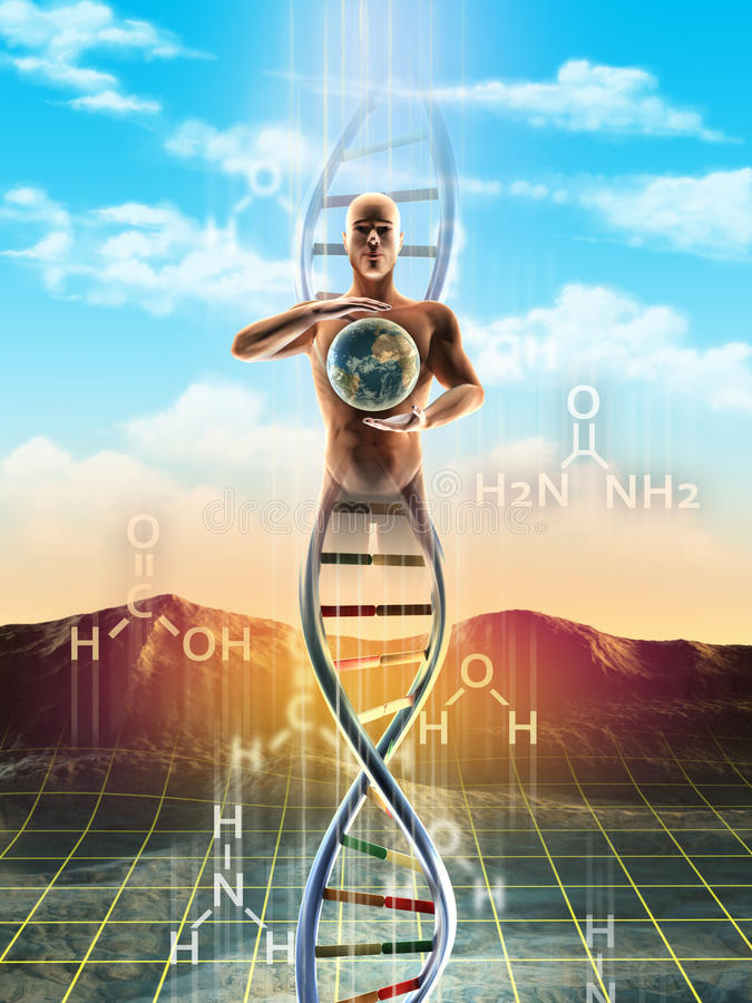 Life creation. Origins of life: from simple molecules to dna. An human being materialize from dna and holds the Earth between its hands. Digital illustration vector illustration