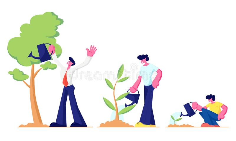Life Cycle, Time Line and Growth Metaphor, Grow Stages of Tree from Seed to Large Plant, Baby, Little Boy, Young Teenager stock illustration