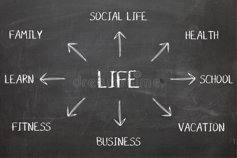 Life Diagram on Blackboard stock photos