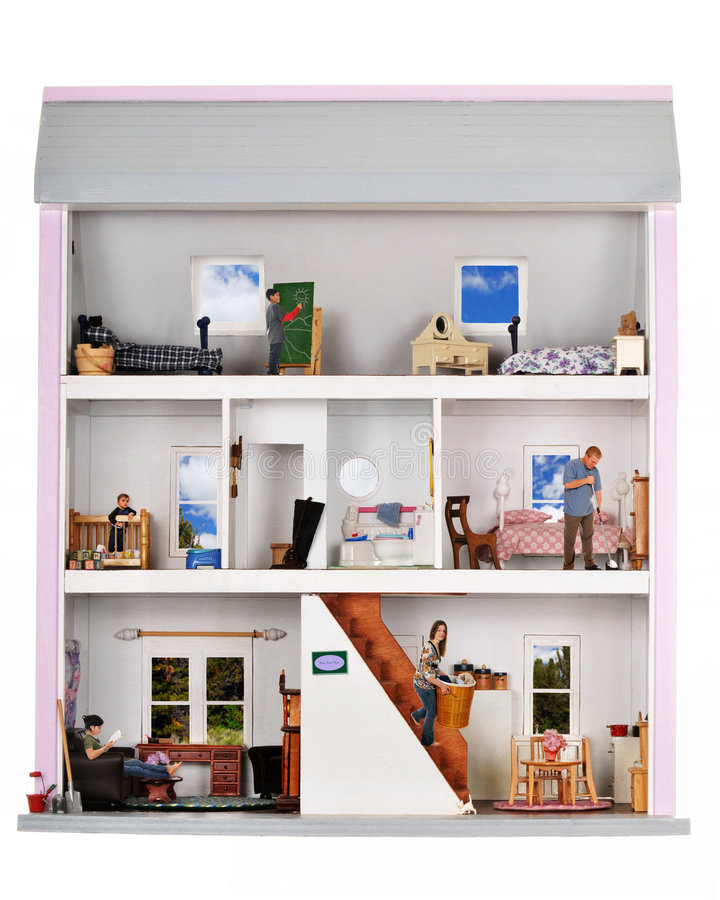 Life in a Doll House. A family of five working and playing inside a furnished doll house