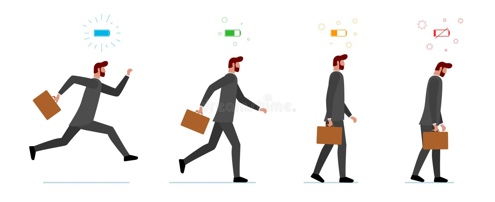 Life energy full and tired businessman. Powerful person with high charge and uncharged battery level set. Worker male royalty free illustration