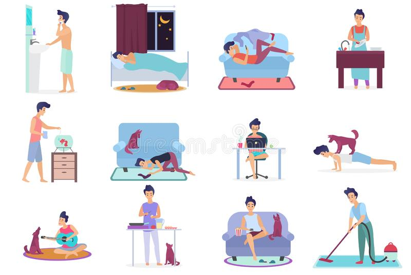 Daily life, everyday routine scenes of young man. Playing on guitar with dog, watching TV, working on laptop, sleeping royalty free illustration