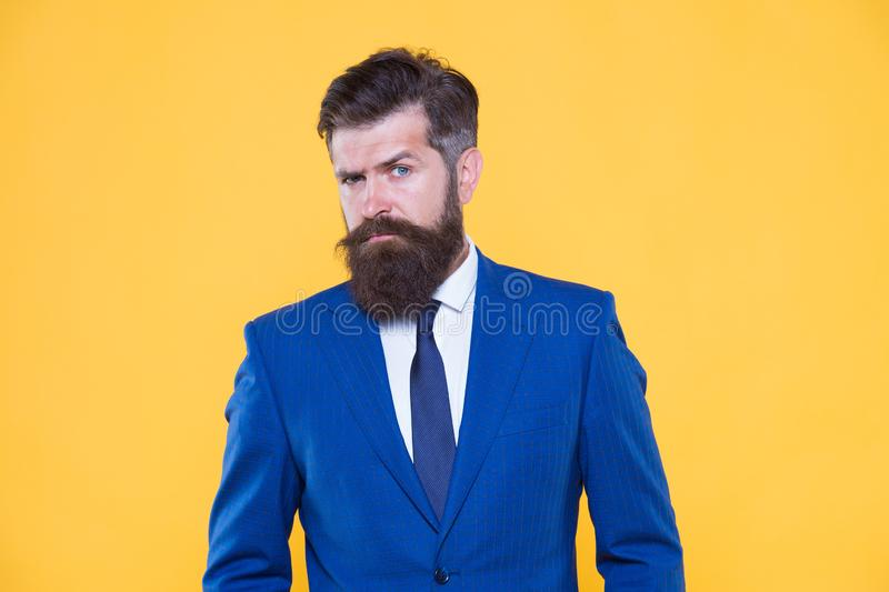 He is life ganger. serious intentions. businessman formal suit. handsome bearded man ceo. successful and charismatic. Boss. leadership concept. improve yourself stock photo