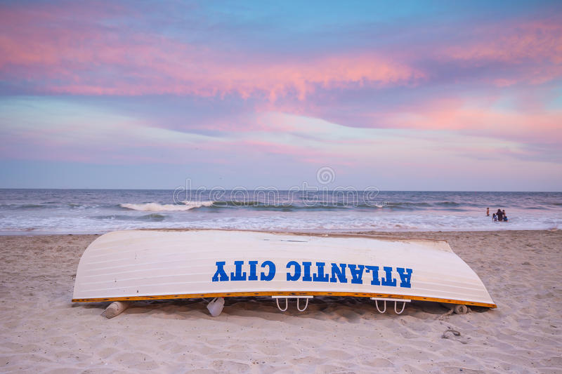 Life guard boat on the beach in Atlantic City stock photography