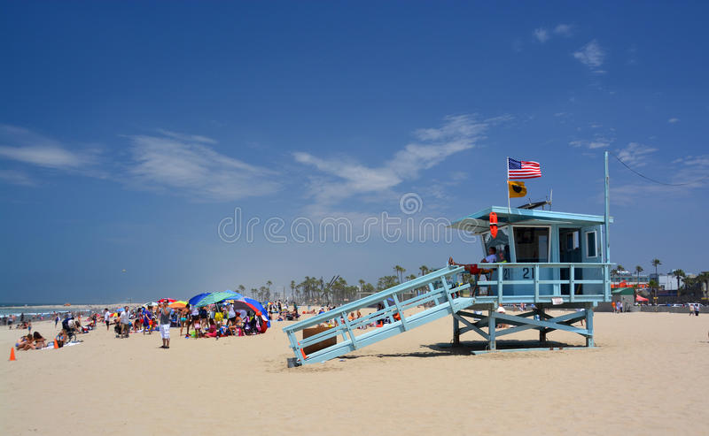 Life Guard Hut at Venice Beach on a Beautiful Summer Day. royalty free stock images