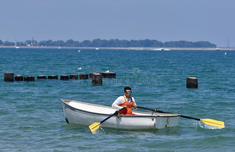 Life Guard on Lake Michigan stock images