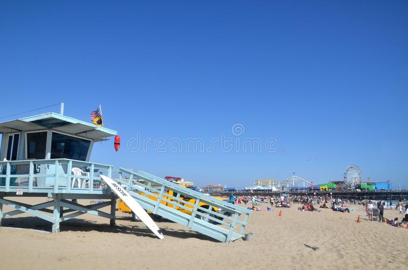 Life guard stand and tower at the Santa Monica Beach royalty free stock photo